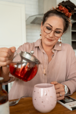 Natalie K. Douglas recommends drinking Tea when things get overwhelming running your health practitioner business online